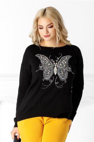 Bluza Daciana neagra cu fluturas pe fata
