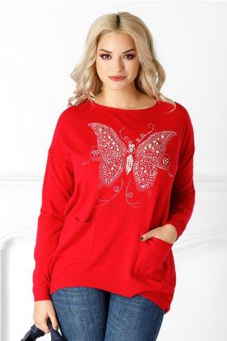 Bluza Daciana rosie cu fluturas pe fata