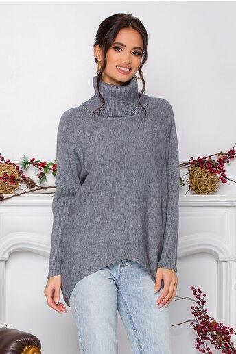 Bluza Daiana gri din tricot cu textura reiata la guler si maneci