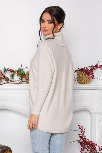 Bluza Daiana ivory din tricot cu textura reiata la guler si maneci