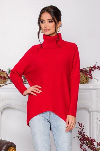 Bluza Daiana rosie din tricot cu textura reiata la guler si maneci