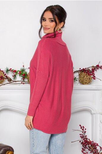 Bluza Daiana roz din tricot cu textura reiata la guler si maneci