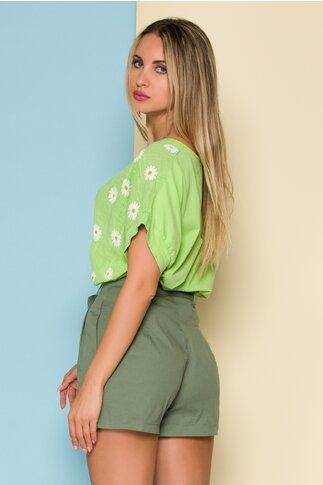 Bluza Daisy verde cu imprimeuri florale