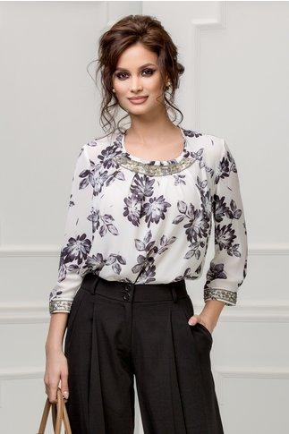 Bluza dama alba cu imprimeuri florale gri