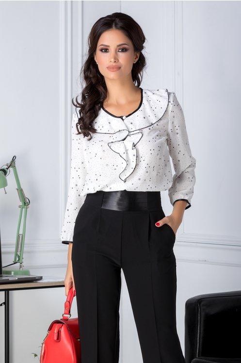 Bluza dama alba cu stelute negre si argintii