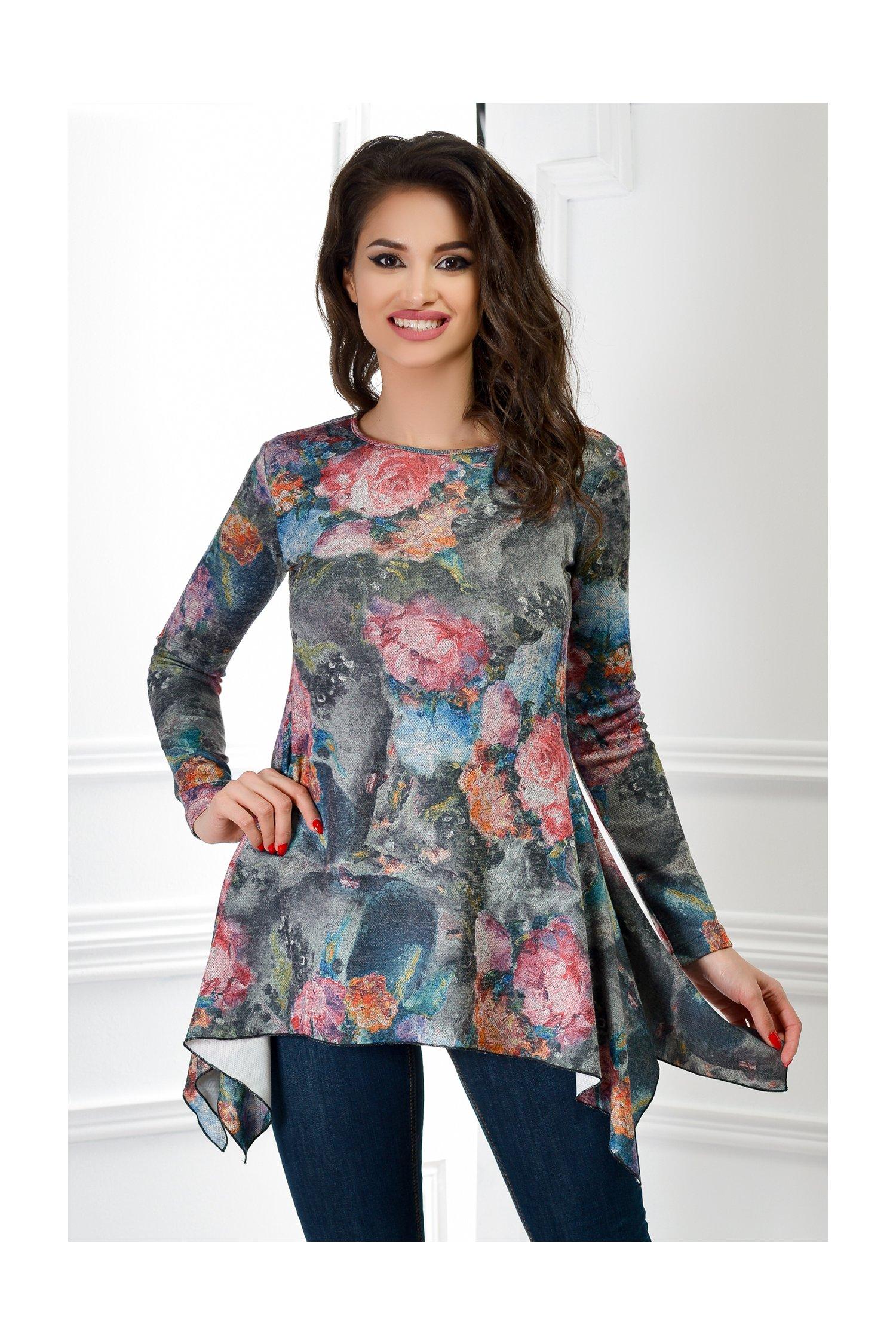 Bluza dama asimetrica cu imprimeuri