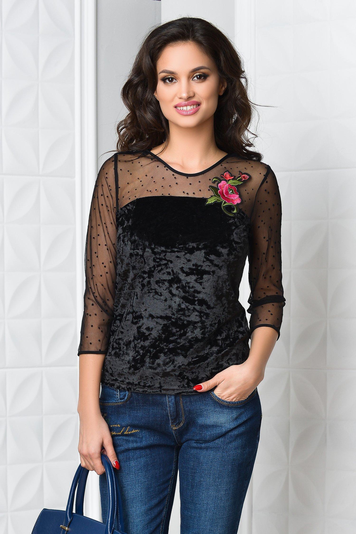 Bluza dama din catifea neagra cu reflexe