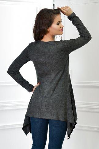 Bluza dama gri asimetrica cu paiete