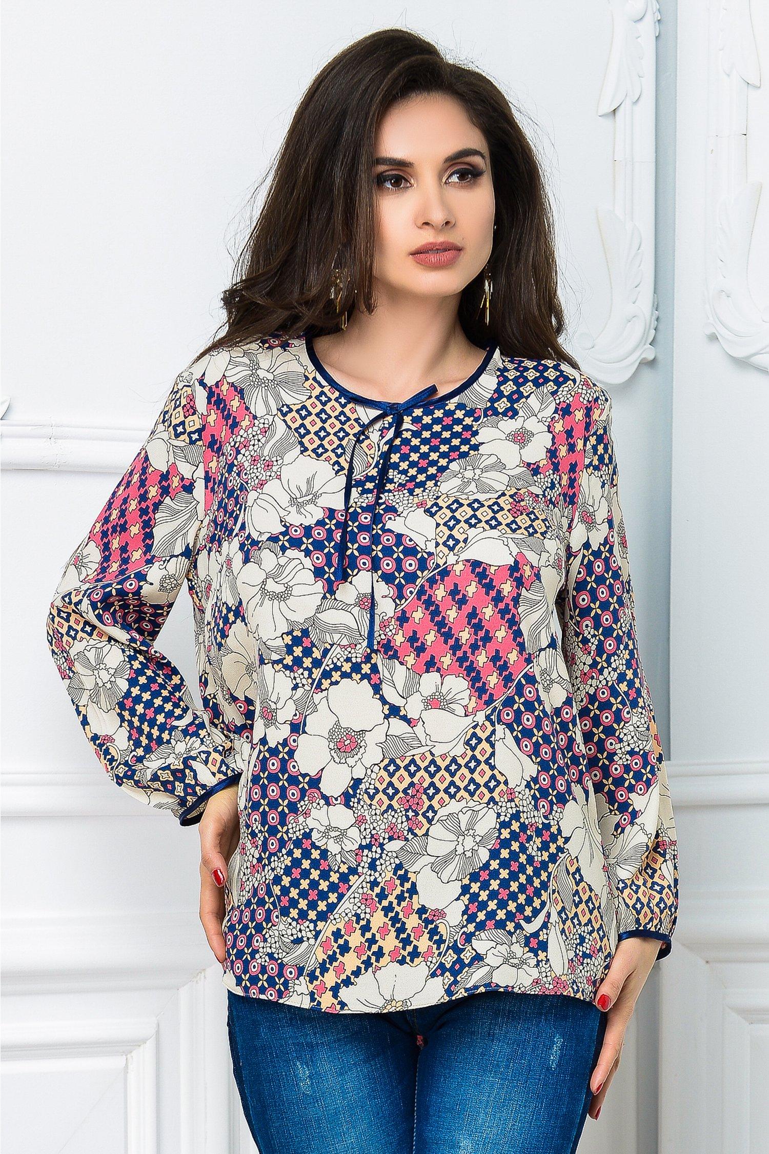 Bluza dama lejera cu imprimeuri colorate