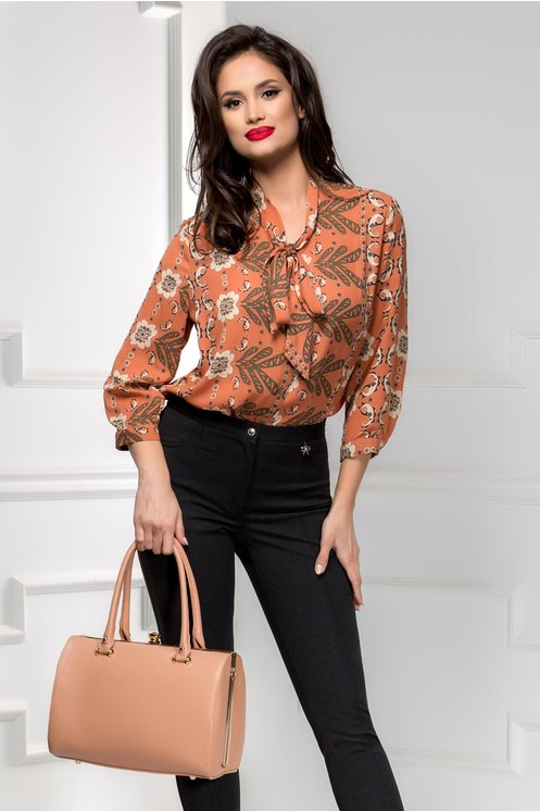 Bluza dama maro cu imprimeuri si funda
