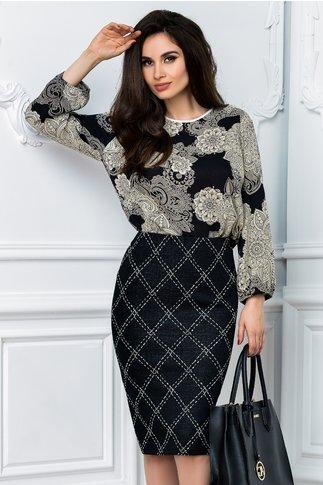 Bluza dama neagra cu imprimeu crem