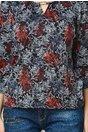 Bluza dama office cu imprimeu gri si rosu