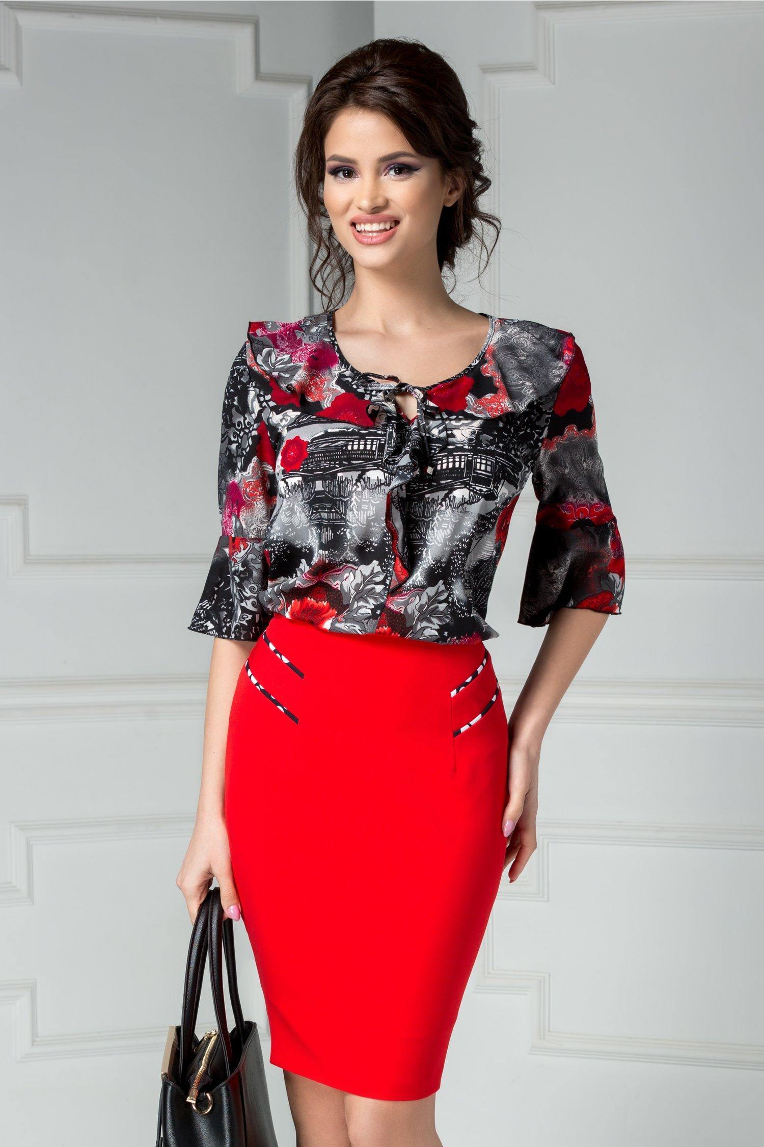 Bluza dama office gri cu imprimeu rosu