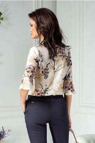 Bluza dama office ivory cu imprimeu floral