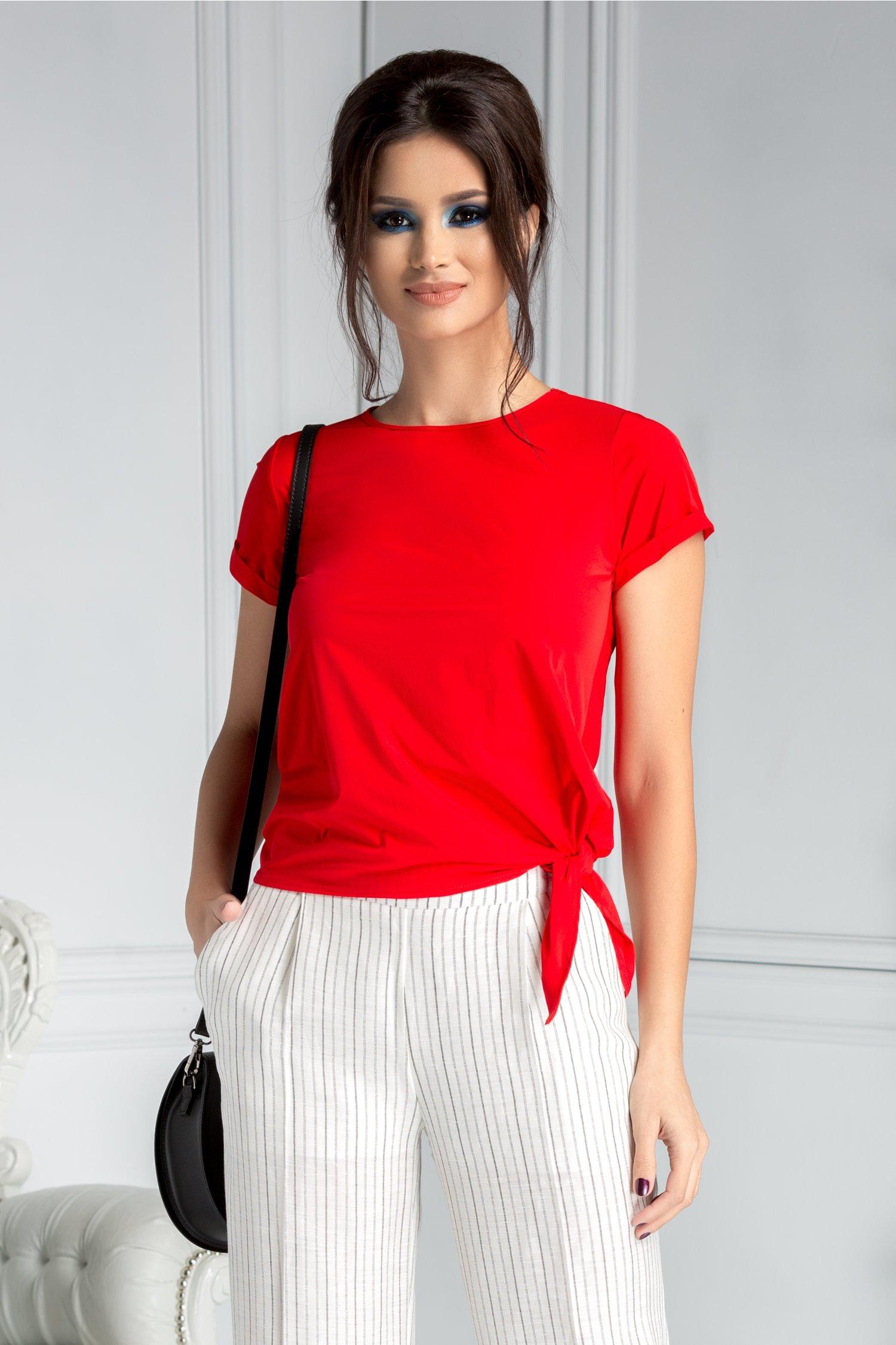 Bluza dama rosie casual asimetrica