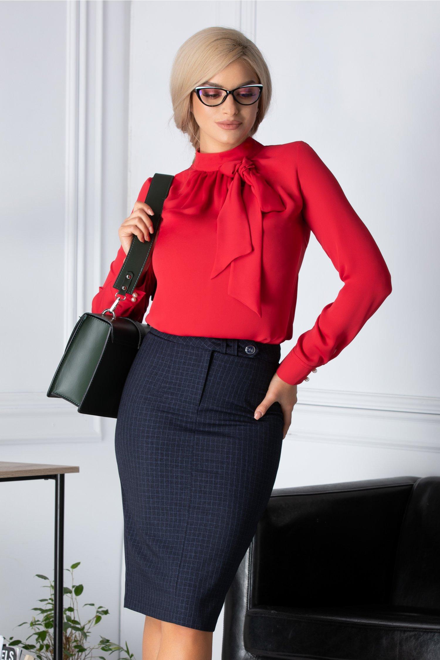Bluza dama rosie eleganta cu funda la guler