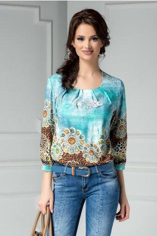 Bluza dama turcoaz cu imprimeuri aurii