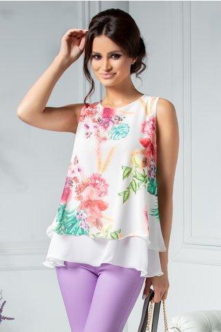 Bluza dama vaporoasa cu imprimeu exotic colorat
