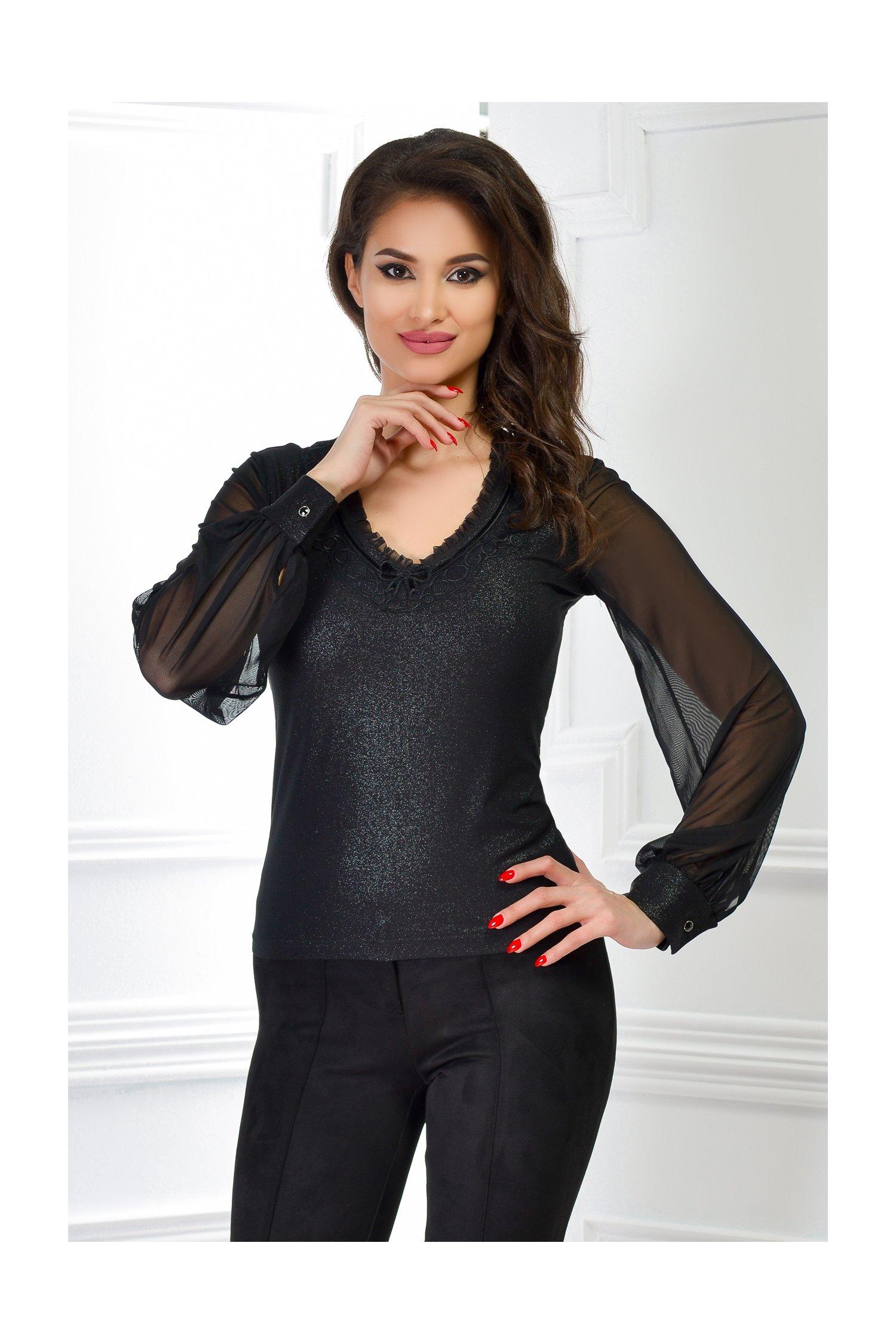Bluza dama neagra cu maneci bufante din tull