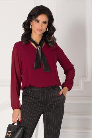 Bluza Damia bordo cu guler tip cravata