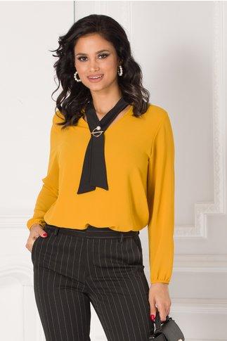 Bluza Damia galben mustar cu guler tip cravata