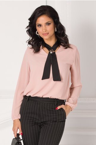Bluza Damia roz pudrat cu guler tip cravata
