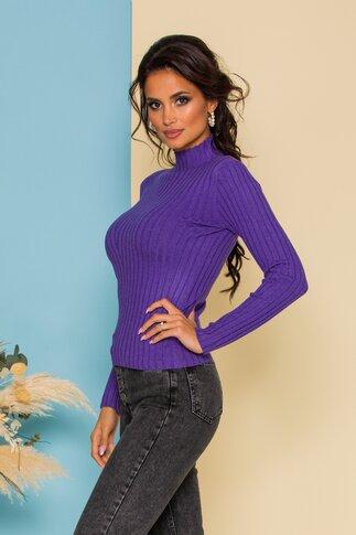 Bluza Dana lila din tricot reiat