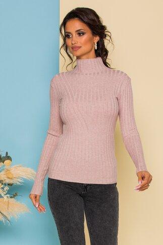 Bluza Dana roz prafuit din tricot reiat