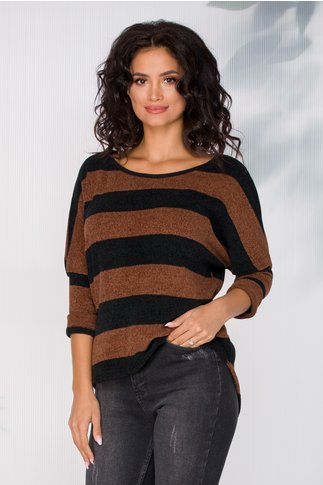 Bluza Daniela cu dungi negre si maro