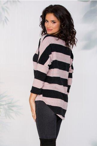 Bluza Daniela cu dungi negre si roz