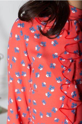 Bluza Dany corai cu floricele albastre