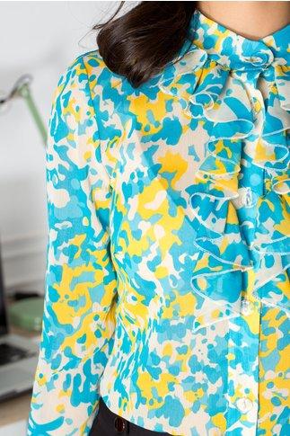 Bluza Dany cu imprimeu albastru si galben