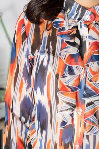 Bluza Dany cu imprimeu caramiziu si bleumarin