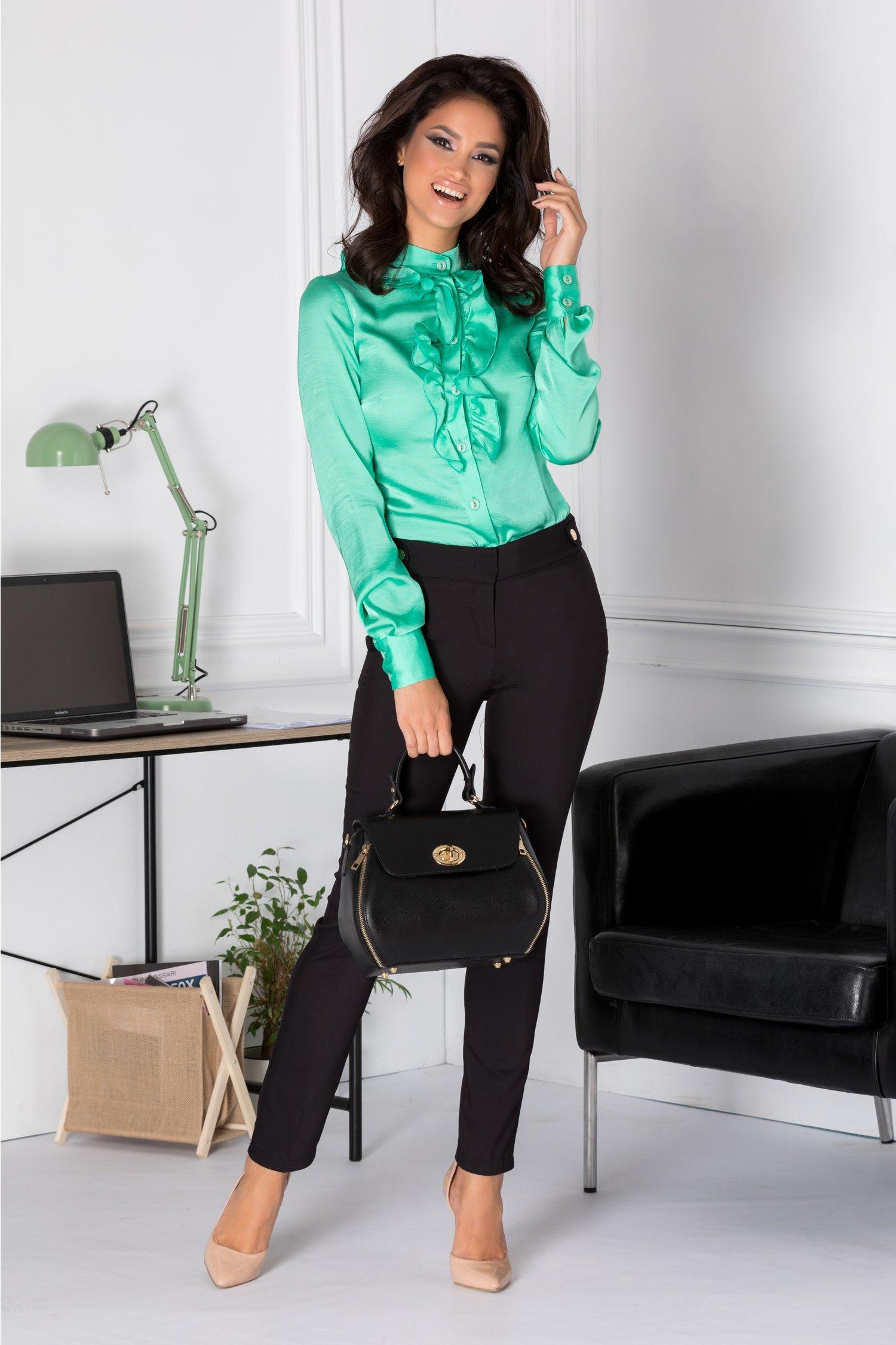 Bluza Dany verde cu volanase