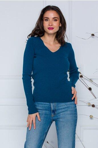 Bluza Dara albastru petrol din tricot reiat