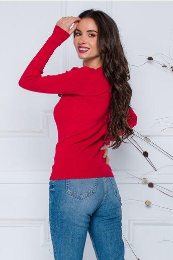 Bluza Dara rosie din tricot reiat