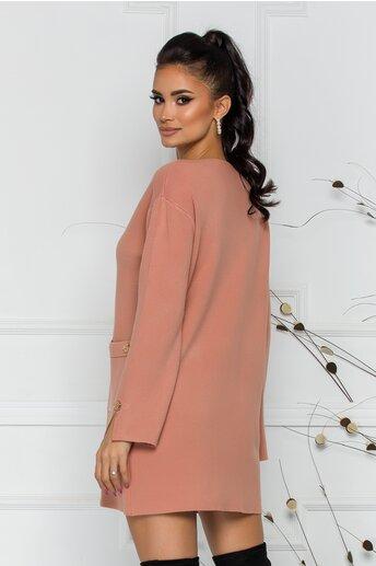 Bluza Daria lunga roz coniac cu buzunare si nasturi decorativi