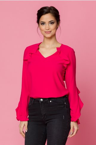 Bluza Dariana rosu zmeura accesorizata cu volanase