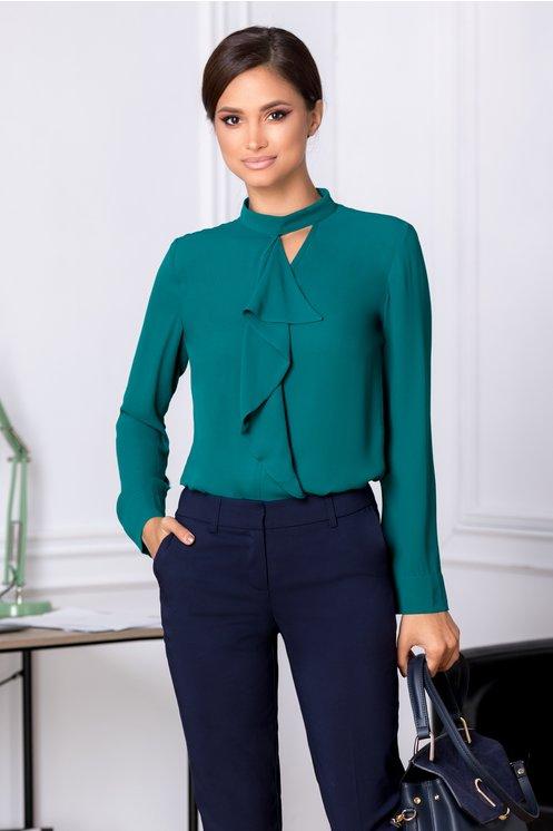 Bluza LaDonna Dary verde eleganta cu volanas