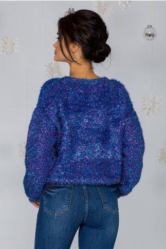 Bluza Debrah albastra cu fir stralucitor fucsia