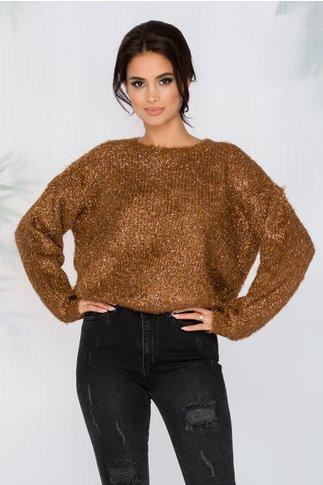 Bluza Debrah maro cu fir stralucitor