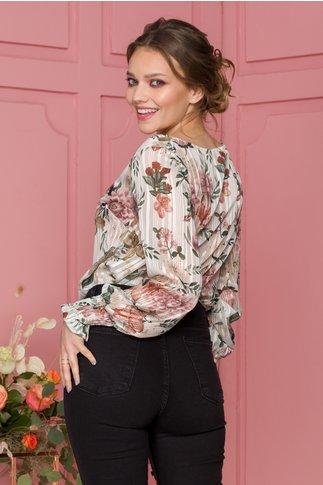 Bluza Deby bej cu imprimeu floral si insertii lurex
