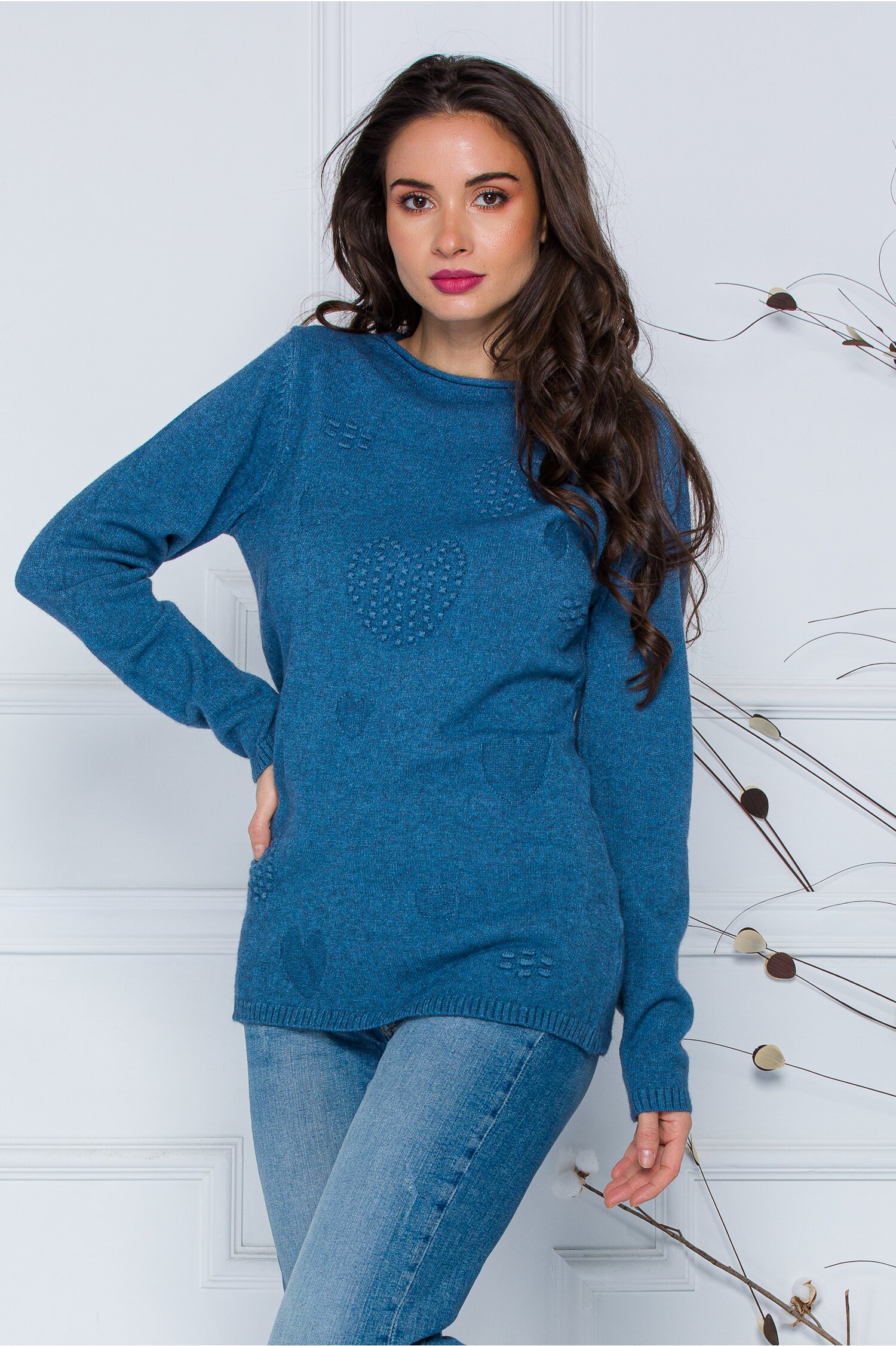 Bluza Diana albastra cu model imagine