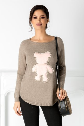 Bluza Diana bej cu ursulet pufos