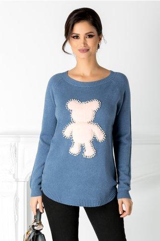 Bluza Diana bleu cu ursulet pufos