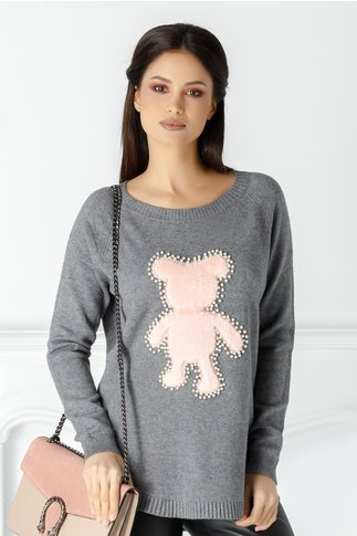 Bluza Diana gri cu ursulet pufos