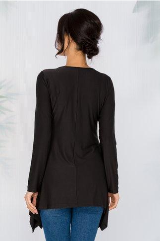 Bluza Diana neagra cu broderie florala si lungime asimetrica