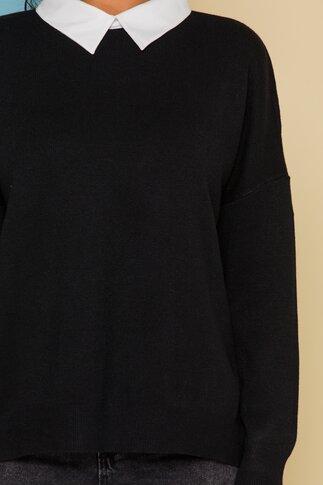 Bluza Diana neagra jerse cu guler tip camasa