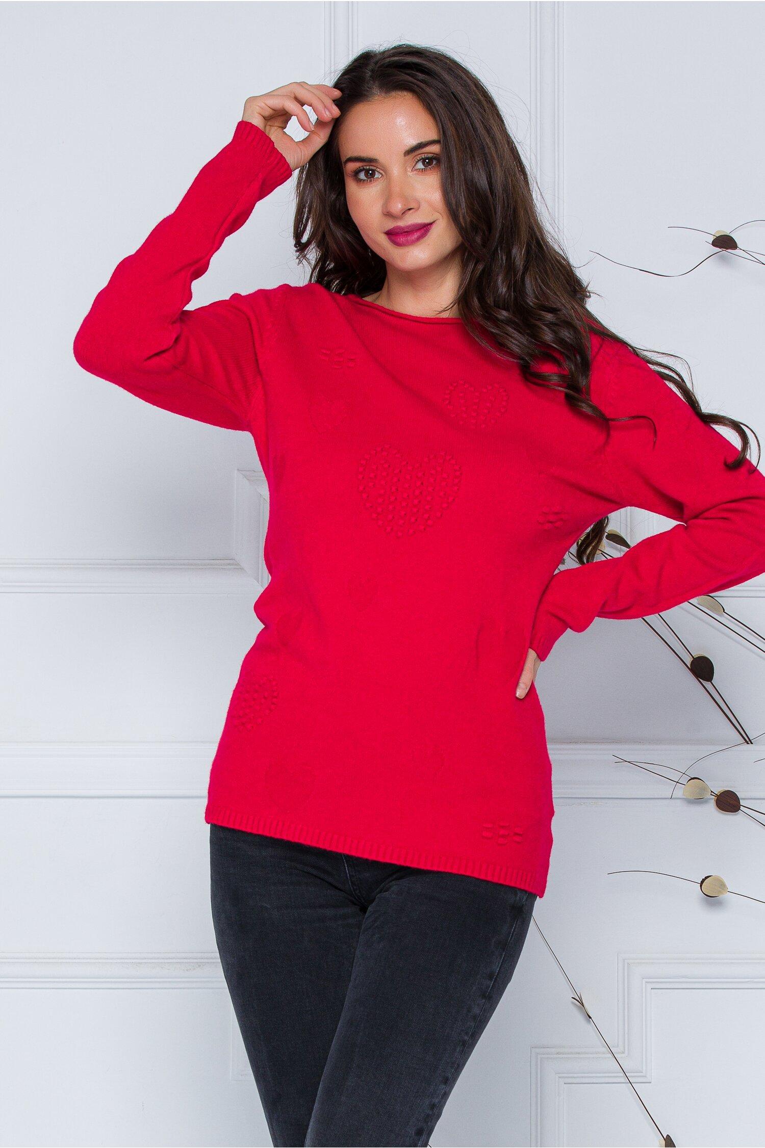Bluza Diana rosie cu model imagine