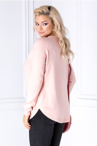 Bluza Diana roz cu ursulet pufos
